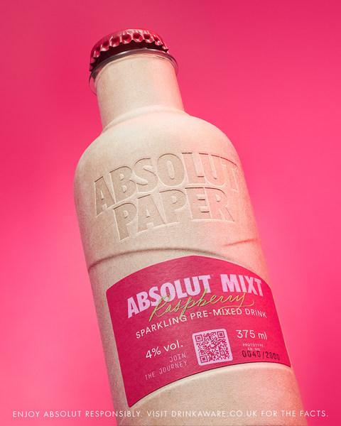 绝对伏特加此前推出纸质酒瓶装样品