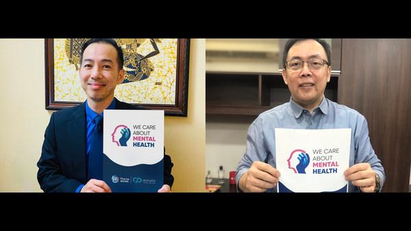 """绿叶制药与Distriphil在菲律宾发起""""关爱精神健康""""公益活动(从左至右:绿叶制药(国际)亚太区商务总监萧幸伟;Distriphil公司副总裁兼首席运营官Michael Quijano)"""