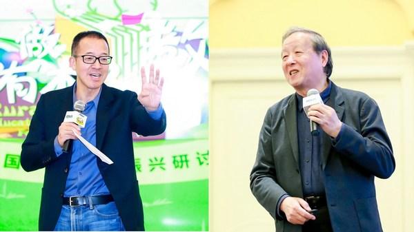 新东方教育科技集团董事长俞敏洪(左) 21世纪教育研究院理事长、国家教育咨询委员会委员杨东平(右)