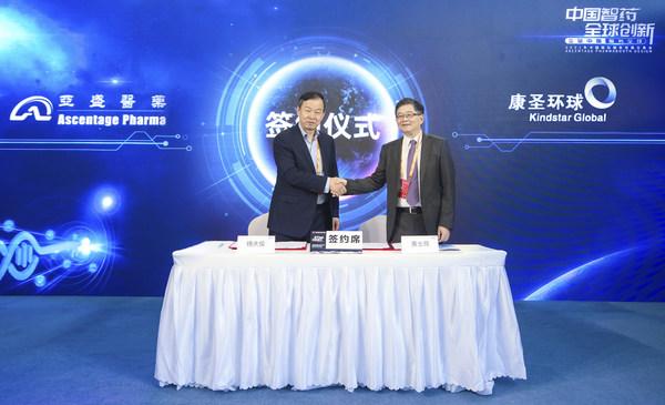 亚盛医药董事长、CEO杨大俊博士(左)与康圣环球执行董事、CEO黄士昂教授(右)在签约后合影留念
