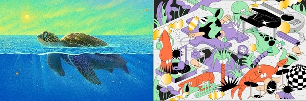 精选插画作品《何以为家》《海洋音乐节》