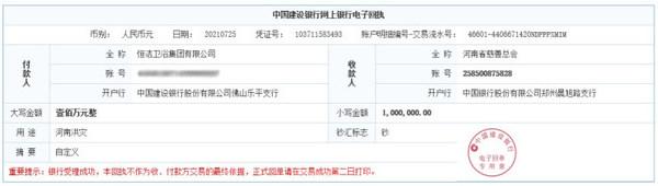 恒洁集团向河南省慈善总会捐款