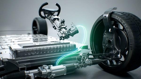 万都SbW(线控转向)系统模型切割图(与实物相同) — 汽车上半身(SFA:转向反馈执行器),汽车下半身(RWA:车轮执行器)