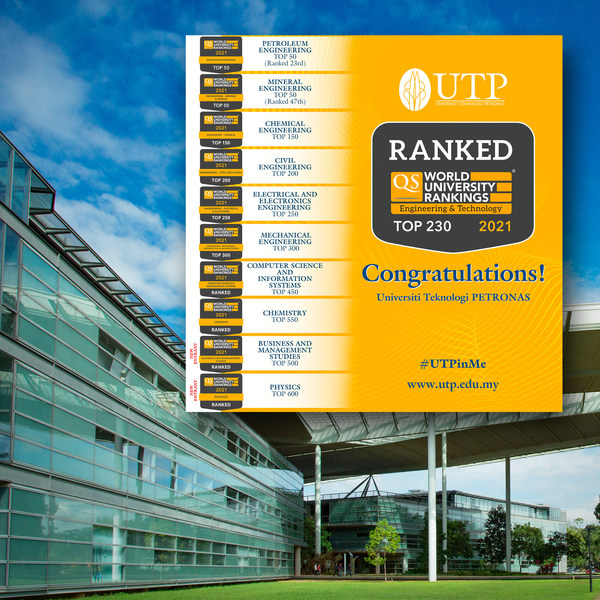 马来西亚国油大学在2021年QS世界大学学科排名中仍名列前茅
